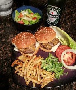 Burgers, fries, and beer.