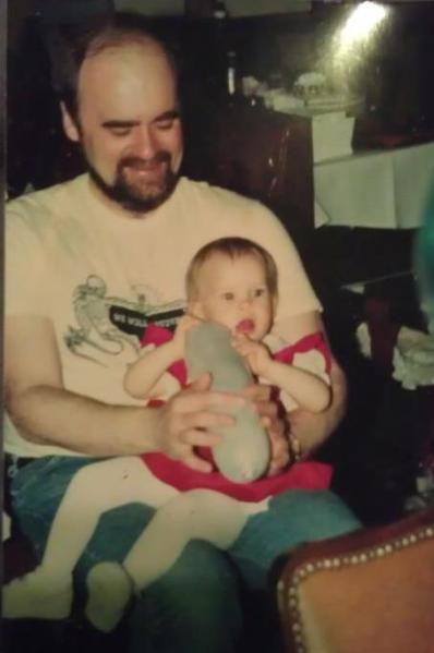 Dad and Rebecca, 1988.