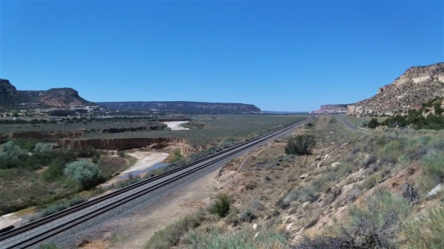 Just before I crossed the boarder from New Mexico to Arizona, I took a little side trip. This is one of my favorite pictures. It captures the highway, a dry riverbed, the train tracks and a dusty side road. I adored New Mexico. Didn't want to leave it.